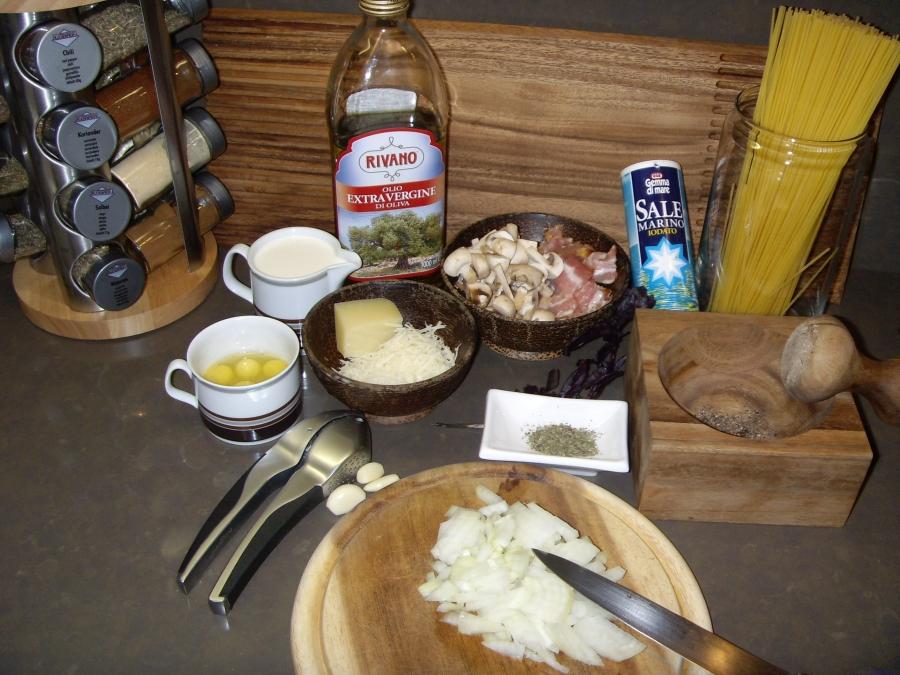 Рецепт Карбонара с грибами и беконом