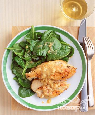 Рецепт Жареная курица со шпинатом