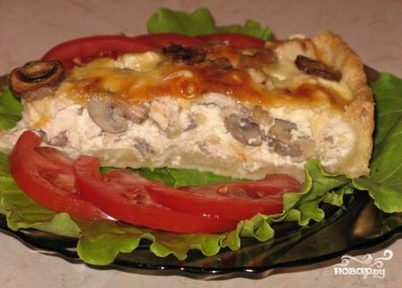 Пирог с грибами и мясом