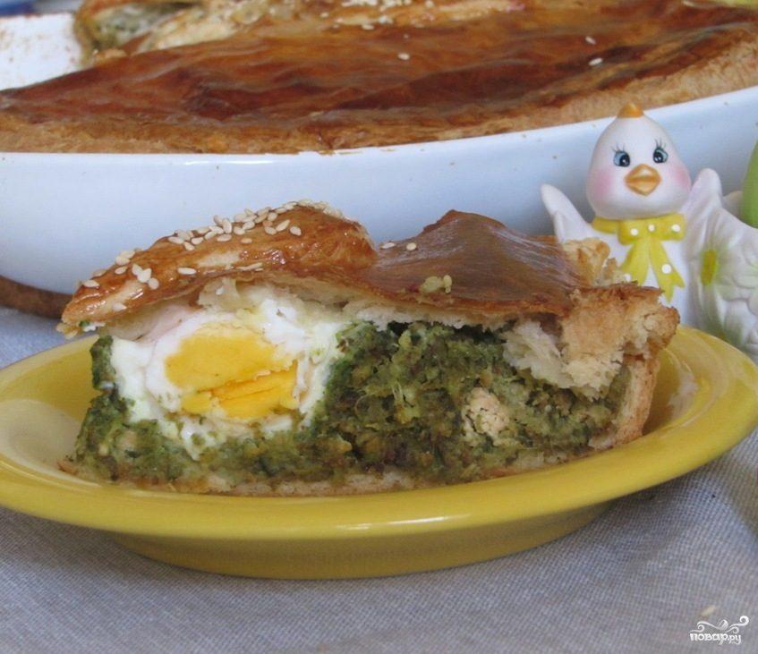 Рецепт Пирог со шпинатом и яйцом
