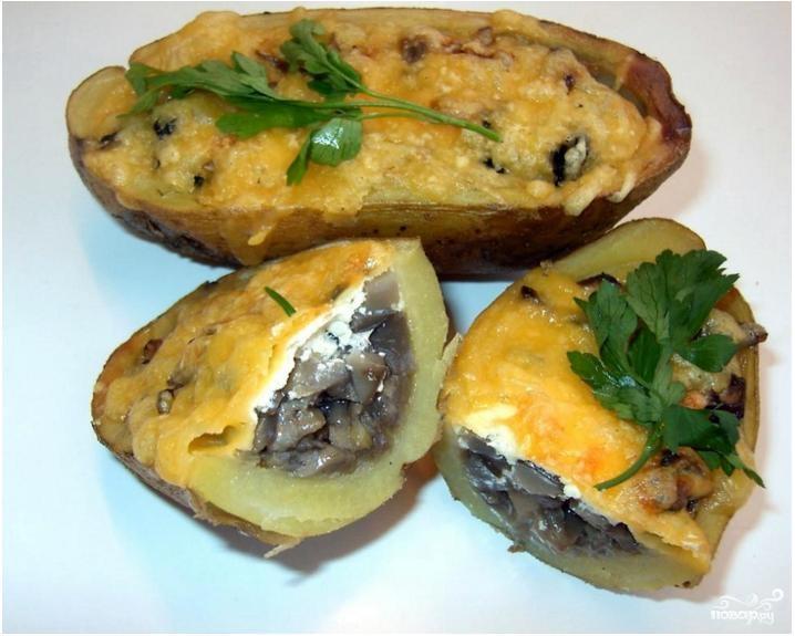 Картофельные лодочки с грибами