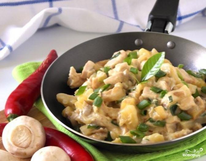 Жульен с грибами и картофелем