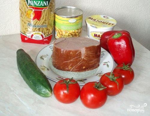 Рецепт Салат с кукурузой и ветчиной