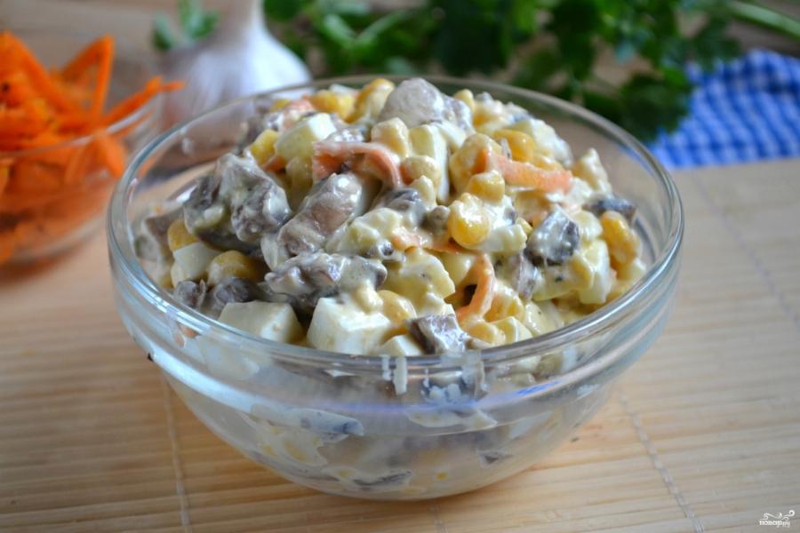 Салат с корейской морковкой и грибами - фото шаг 5