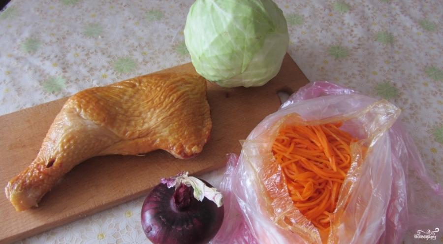 Салат с копчёной курицей и корейской морковью - фото шаг 1