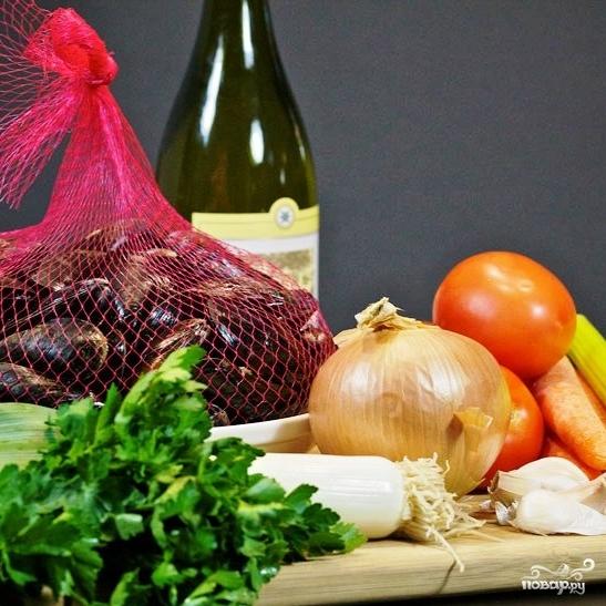 Рецепт Мидии с овощами в белом вине
