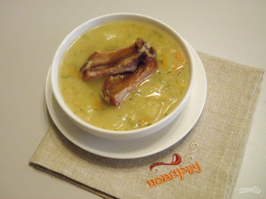 Гороховый суп с копчеными ребрышками пошаговый рецепт в мультиварке