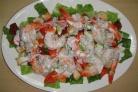 Клубный салат с креветками