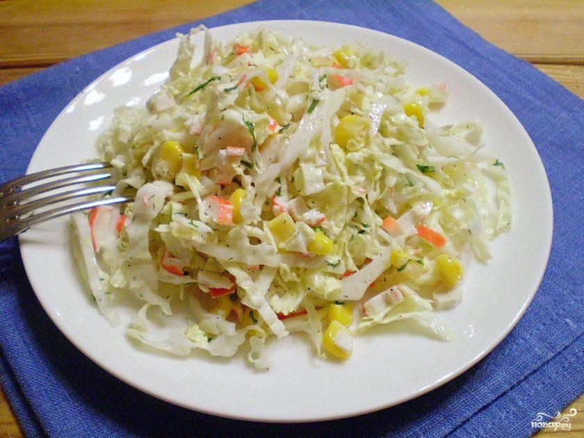 рецепт салат кукуруза крабовые палочки и огурец