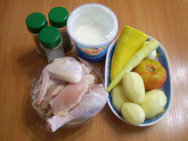 Курица с овощами с сметане - фото шаг 1
