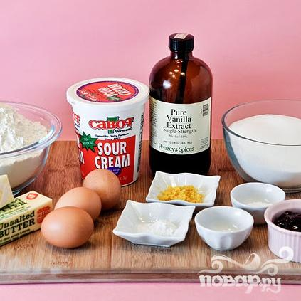 Капкейки с малиновым джемом и лимонной глазурью - фото шаг 1