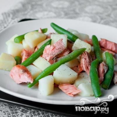 Салат из форели с картофелем и зеленой фасолью - фото шаг 5