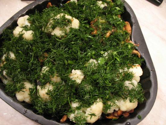 Цветная капуста с грибами и сыром - фото шаг 7
