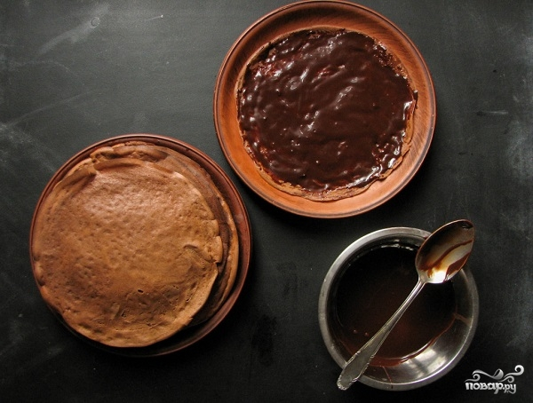 Блинный торт шоколадный - фото шаг 6