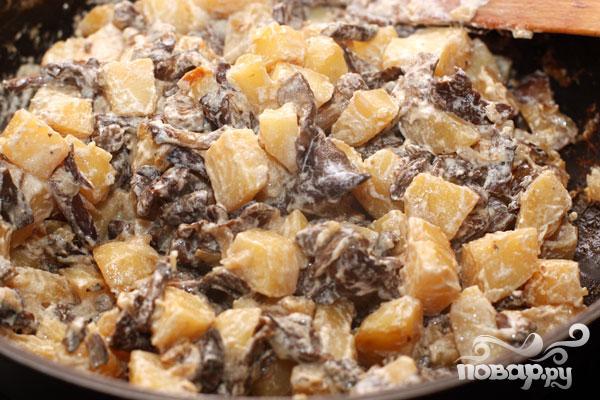 картошка с грибами со сметаной в духовке рецепт с фото