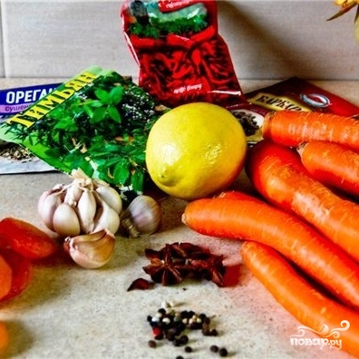 Свиная корейка на кости с морковью - фото шаг 1