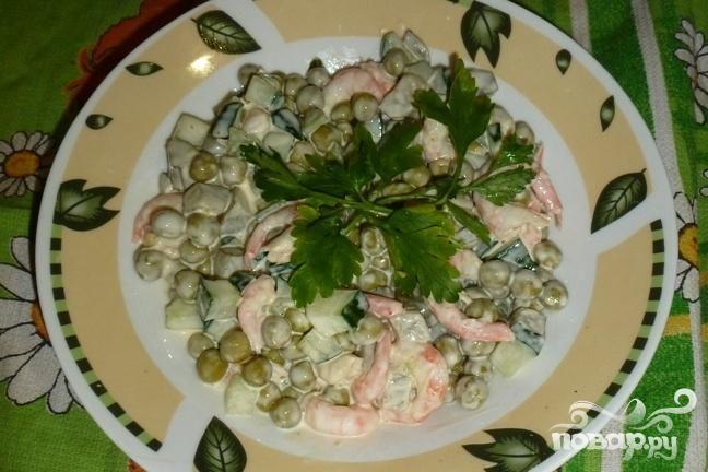 Рецепт Простой салат с креветками