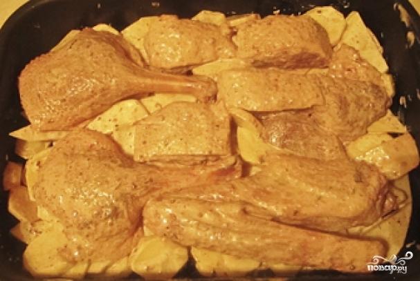 Гусь кусочками в духовке с картошкой пошаговый рецепт