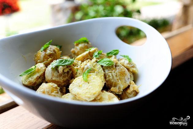 Картофельный салат с лимоном и базиликом - фото шаг 7