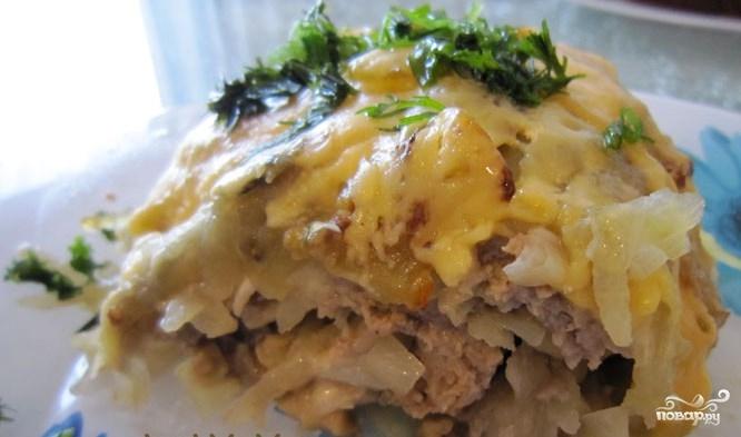 Грибы с фаршем и картошкой