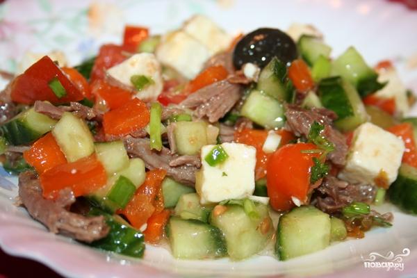 Салат греческий с мясом - фото шаг 9