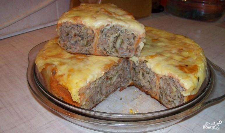 Пирога из лаваша с фаршем в духовке