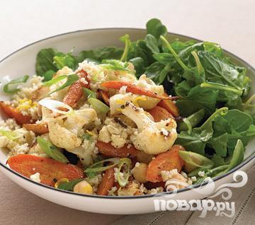 Рецепт Салат с крупой и жареными овощами