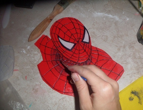 """Торт бисквитный """"Человек-паук"""" - фото шаг 8"""