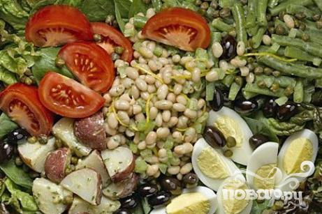 Рецепт Салат с фасолью, картофелем и помидорами