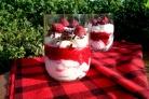 Творожно-малиновый десерт