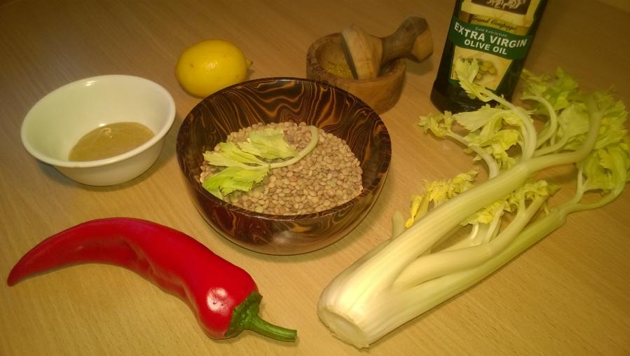 Рецепт Салат из зеленой чечевицы диетический