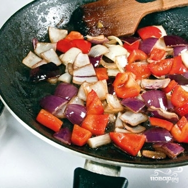 Теплый салат с манго и овощами - фото шаг 7