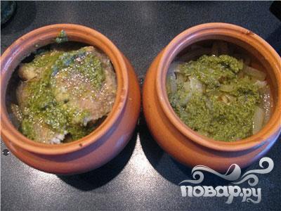Рыба под соусом песто в горшочках - фото шаг 5