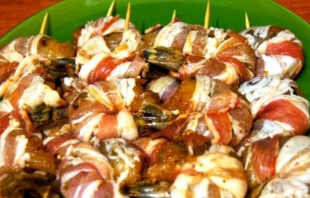 шашлык креветка в беконе рецепт