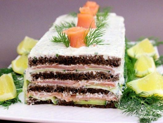 Торт с копченым лососем