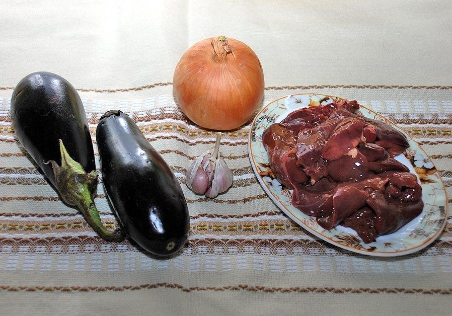 Рецепт Печень с баклажанами