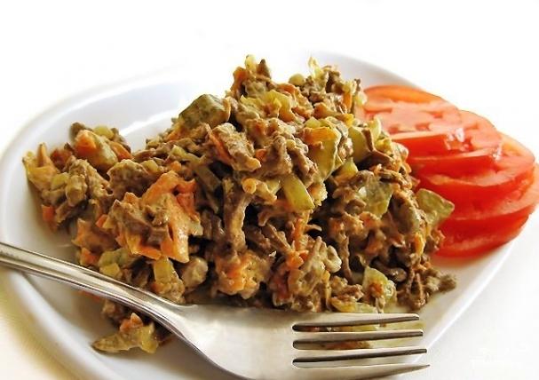 Рецепты салатов с печенью говяжьей