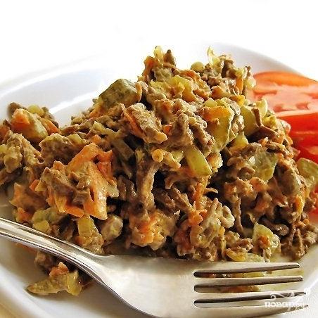 Салат из печени с морковью и луком говяжьей рецепт с очень вкусный
