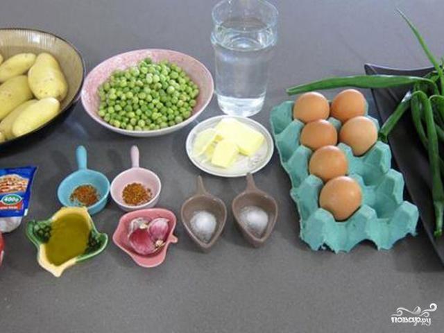Яичница с горошком - фото шаг 1