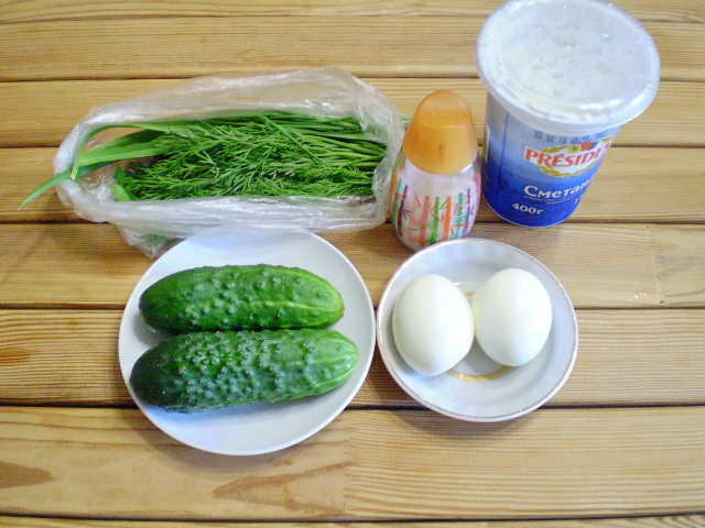 Рецепт Салат из яиц и огурцов