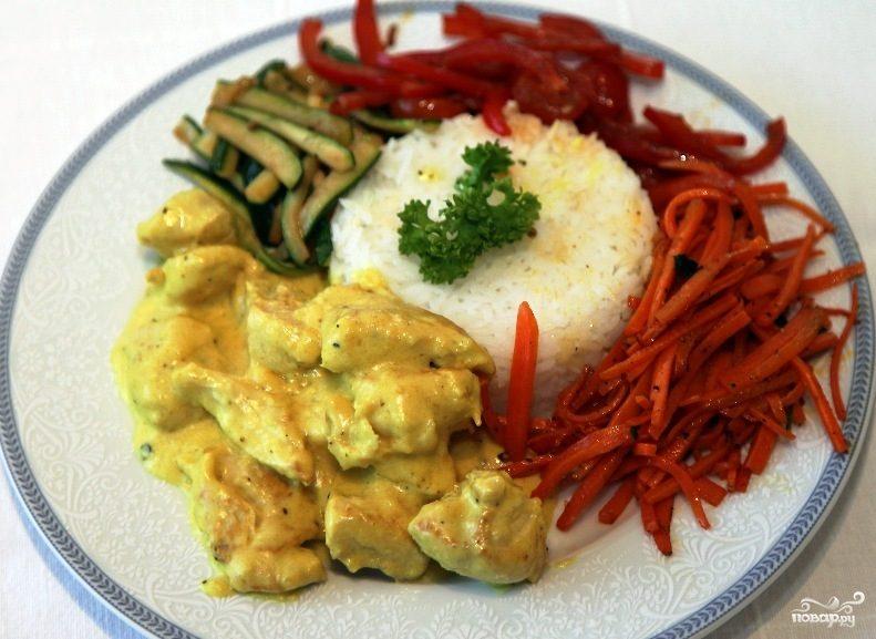 Курица карри с овощами