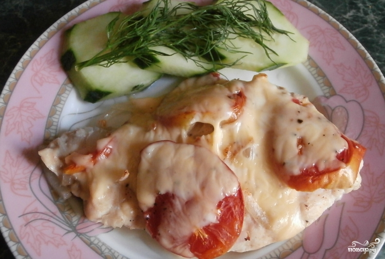 Куриная грудка с помидорами в духовке - фото шаг 4