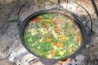 Суп из баранины с баклажанами в казане