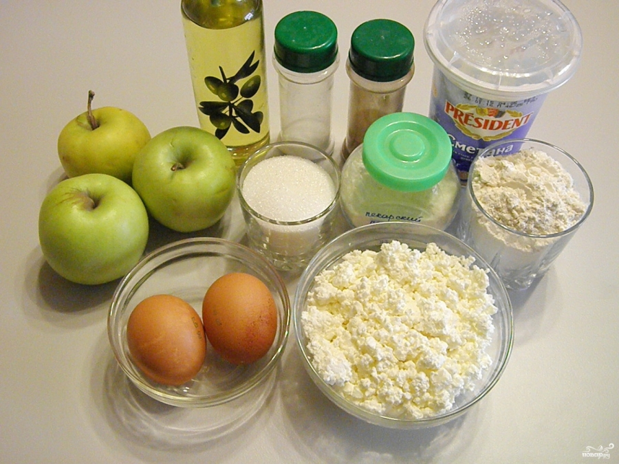 Яблочный пирог на творожном тесте - фото шаг 1