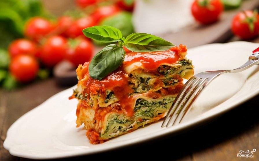 Рецепт Вегетарианская лазанья со шпинатом