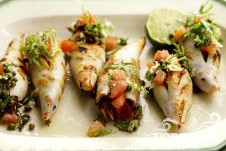 Рецепт Жареные фаршированные кальмары