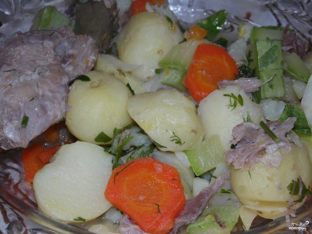Овощное рагу с гусиным мясом