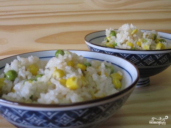 Рецепт Рис с горошком и кукурузой