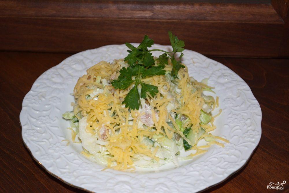 салат с копченой курицы с сыром рецепт
