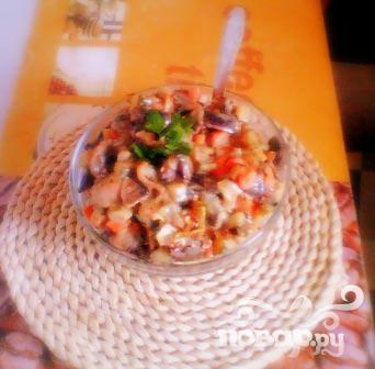 Рецепт Куриные сердечки с грибами